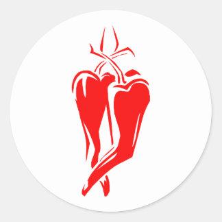 extracto de baile de la pimienta de chile rojo dos pegatina redonda