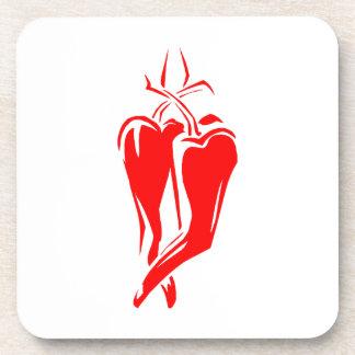 extracto de baile de la pimienta de chile rojo dos posavasos de bebida