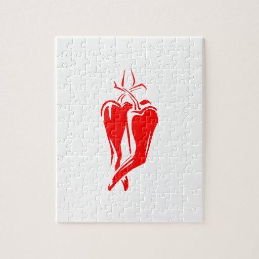 extracto de baile de la pimienta de chile rojo dos puzzles