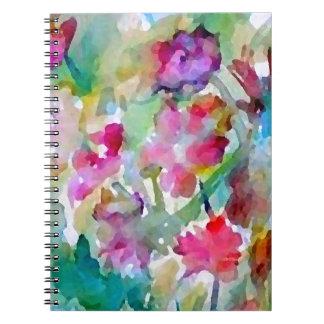 Extracto de la acuarela del jardín de flores de Cr Spiral Notebook
