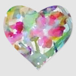 Extracto de la acuarela del jardín de flores de calcomanías corazones personalizadas