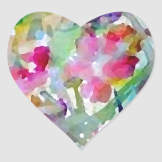 Extracto de la acuarela del jardín de flores de pegatina en forma de corazón