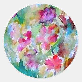 Extracto de la acuarela del jardín de flores de pegatina redonda