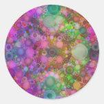 Extracto de la burbuja del arco iris pegatina redonda