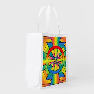 Extracto de la cruz del arco iris de Roygbiv Bolsas Reutilizables