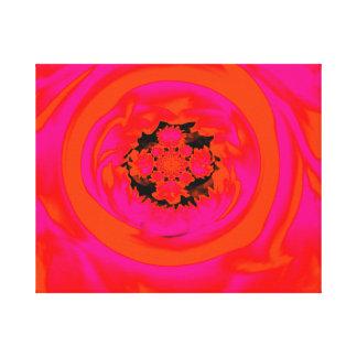 Extracto de la dalia, naranja, rosado impresión en lona estirada