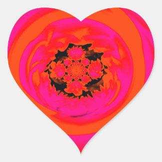 Extracto de la dalia, naranja, rosado pegatina en forma de corazón