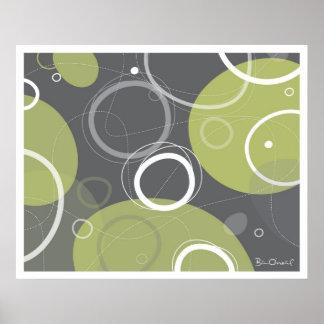 Extracto de la edad atómica en poster verde oliva