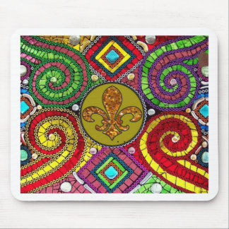 Extracto de la flor de lis del vitral tapetes de raton