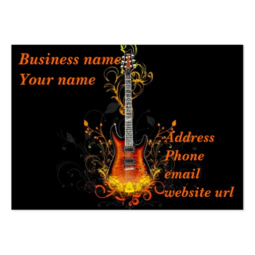 Extracto de la guitarra en negro plantilla de tarjeta personal