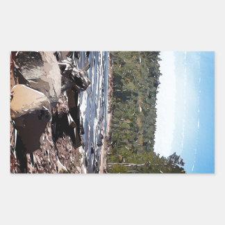 Extracto de la línea de la playa del lago Superior Rectangular Pegatina