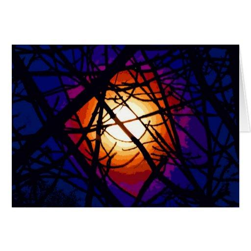 Extracto de la luna del vitral tarjetas