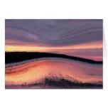 Extracto de la ola oceánica de la puesta del sol tarjeton