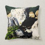 Extracto de la roca con la planta verde painterly almohada