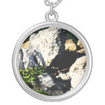 Extracto de la roca con la planta verde painterly pendientes personalizados