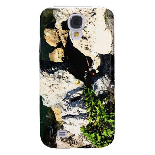 Extracto de la roca con la planta verde painterly funda para galaxy s4