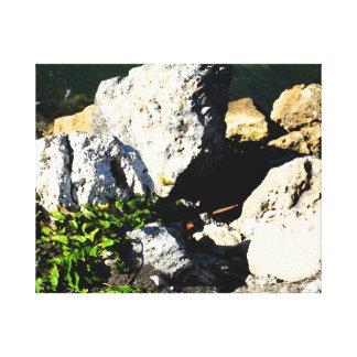 Extracto de la roca con la planta verde painterly impresión en lona