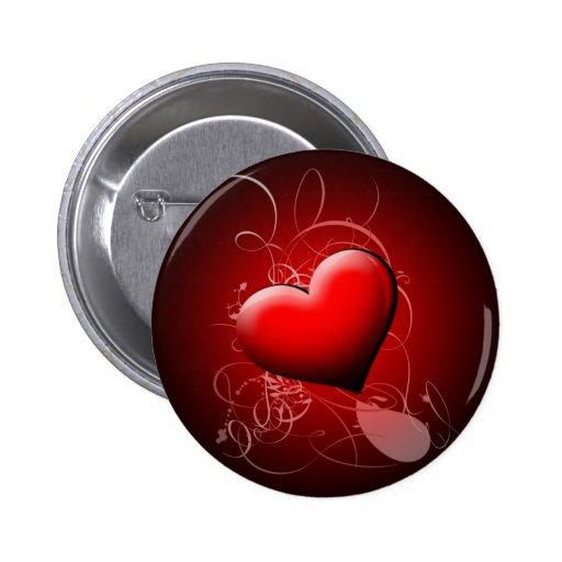 Extracto de la sombra del corazón pin redondo 5 cm