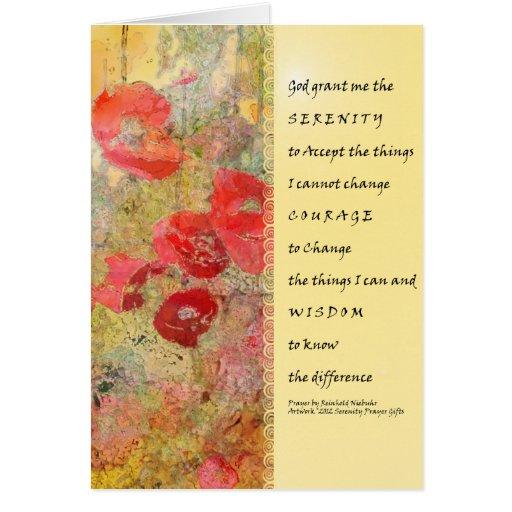 Extracto de las amapolas del rezo de la serenidad tarjeta de felicitación
