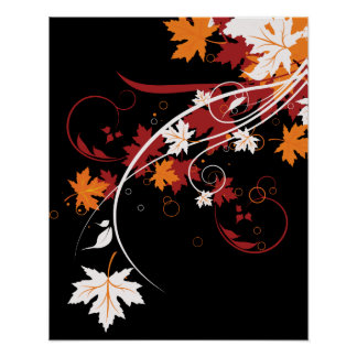 Extracto de las hojas de otoño posters