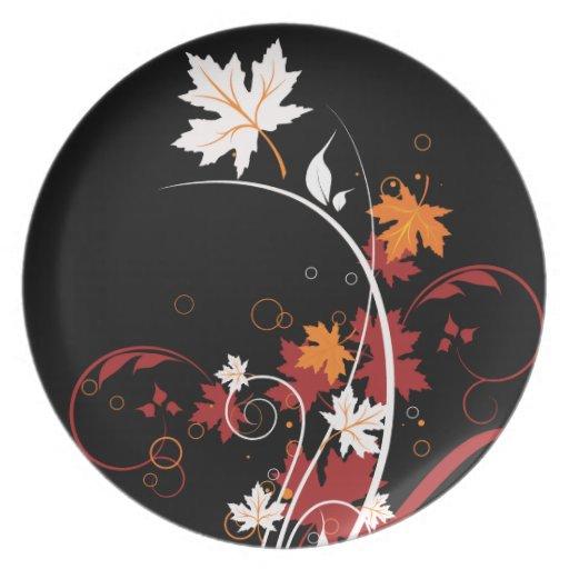 Extracto de las hojas de otoño plato de comida