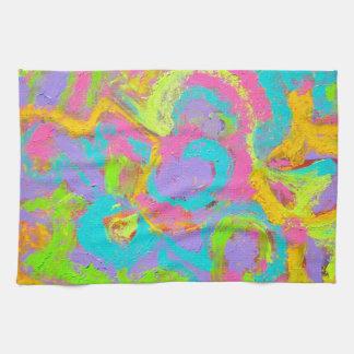 Extracto de neón - arte abstracto pintado a mano toalla de cocina