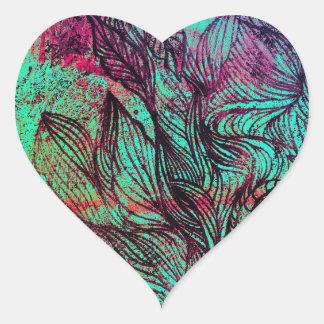 Extracto de neón de los Tendrils Pegatina En Forma De Corazón