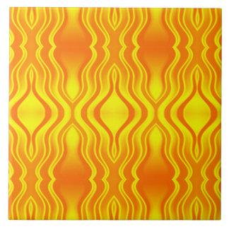 Extracto del amarillo anaranjado de las olas de ca azulejo cuadrado grande