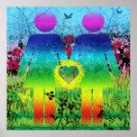 Extracto del amor del Grunge del arco iris del pos Poster