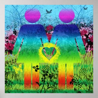Extracto del amor del Grunge del arco iris del pos Póster