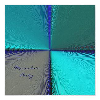 """Extracto del azul de pavo real invitación 5.25"""" x 5.25"""""""