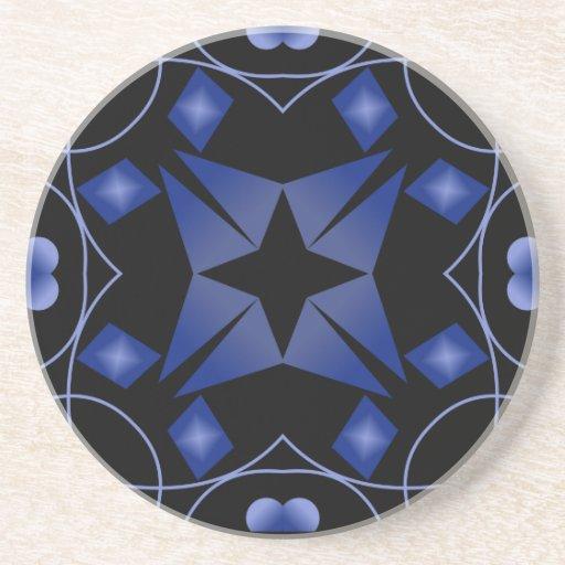 Extracto del caleidoscopio de la estrella negra y  posavasos diseño