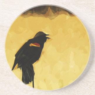 Extracto del canto del mirlo de alas rojas posavasos manualidades