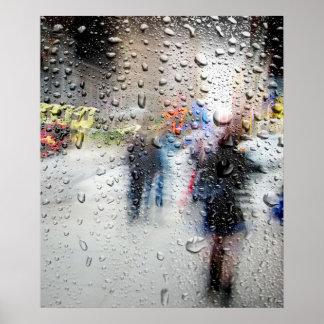 Extracto del día lluvioso NYC Póster