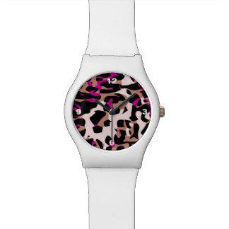 Extracto del guepardo de Brown de las rosas Reloj De Mano