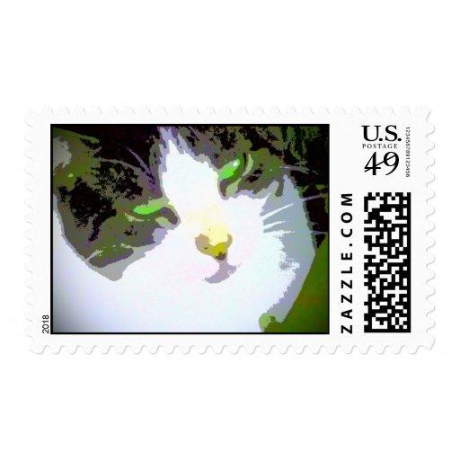 Extracto del impresionista del gato del arte pop sello