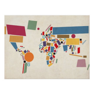 Extracto del mapa del mundo posters