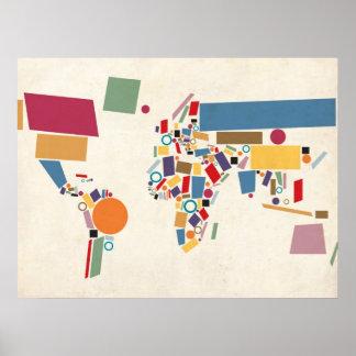 Extracto del mapa del mundo poster