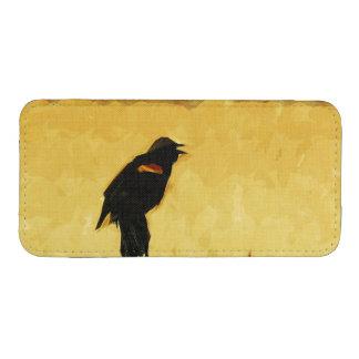 Extracto del mirlo de alas rojas del canto bolsillo para iPhone