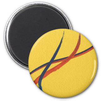 Extracto del naranja, amarillo y azul de la acuare imán redondo 5 cm
