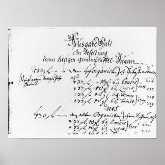 Extracto del pago del sueldo de J.S. Bach Posters