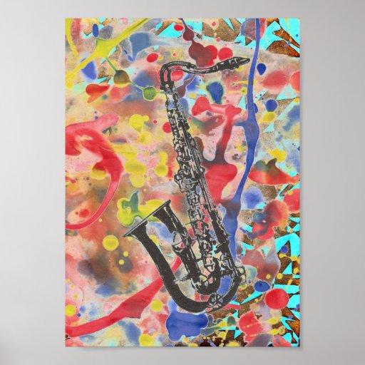 Extracto del saxofón poster