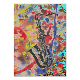 Extracto del saxofón póster