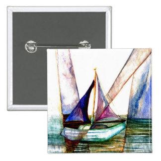 Extracto del velero - arte del océano de CricketDi Pin Cuadrada 5 Cm