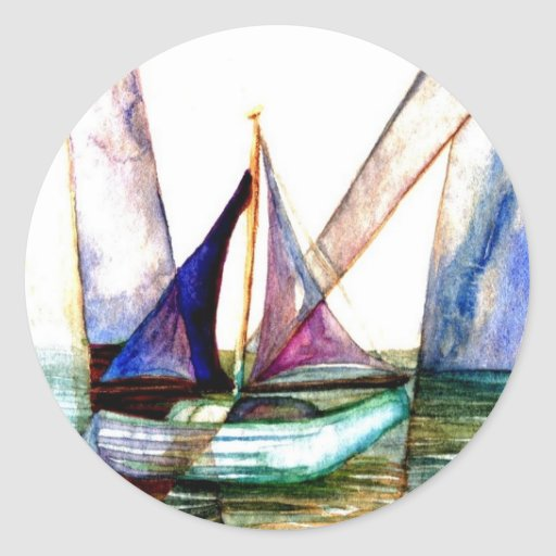 Extracto del velero - arte del océano de pegatina redonda