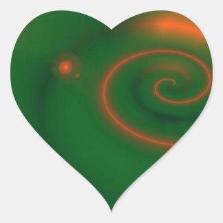 Extracto del verde y del naranja pegatina en forma de corazón