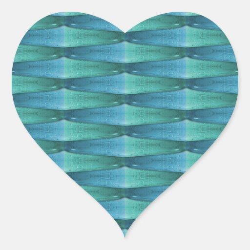 Extracto del vidrio azul y verde pegatina en forma de corazón
