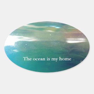 Extracto digital de moda elegante del océano del © pegatinas ovaladas personalizadas