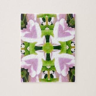 Extracto elegante verde rosado moderno fresco puzzles con fotos