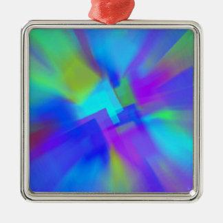 Extracto en azul adorno navideño cuadrado de metal